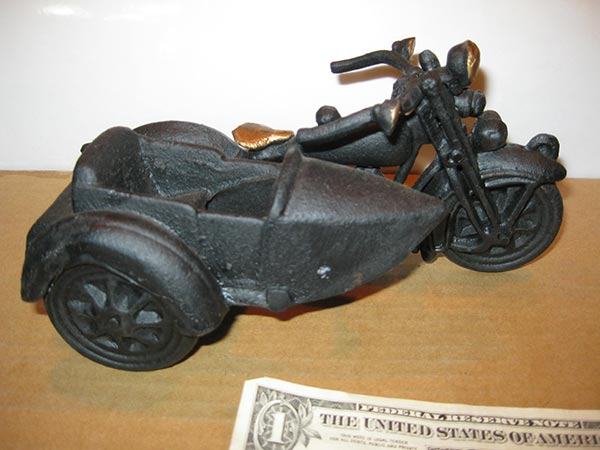 Cast Iron Harley Davidson Motorcycle Sidecar